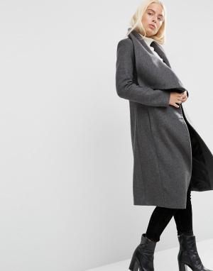 ASOS Пальто-трапеция с драпировкой добавлением шерсти. Цвет: серый