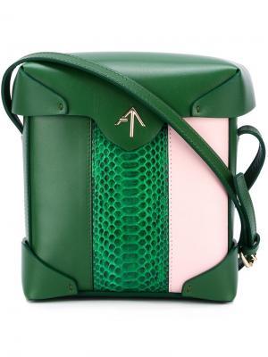 Полосатая мини-сумка Pristine Manu Atelier. Цвет: зелёный