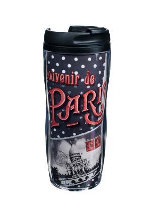 Чайная кружка для путешествий пластиковая 13,5x18 см ,  Воспоминания о Париже Orval. Цвет: черный, красный