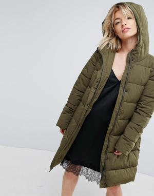 Parka London Стеганное пальто из искусственного меха с капюшоном lm. Цвет: зеленый