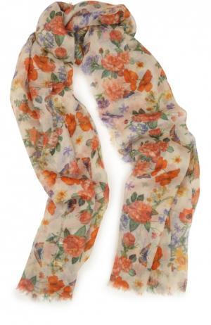 Шарф из кашемира и шелка с цветочным принтом Colombo. Цвет: разноцветный