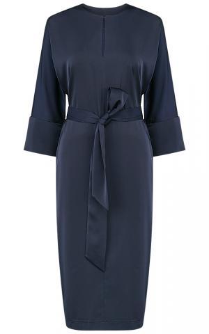 Синее платье с поясом La Reine Blanche