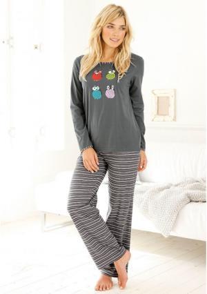 Пижама, 3 части VIVANCE. Цвет: серый, сливовый