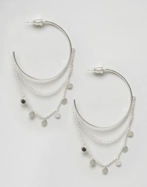 Orelia Броские серьги-кольца с монетами. Цвет: серебряный