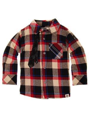 Рубашка с длинным рукавом Neck Tie Plaid Shirt Mini Shatsu. Цвет: красный, коричневый, голубой