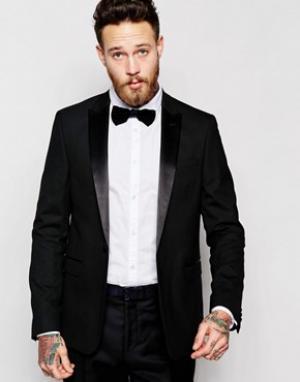 ASOS Черный пиджак-смокинг узкого кроя. Цвет: черный