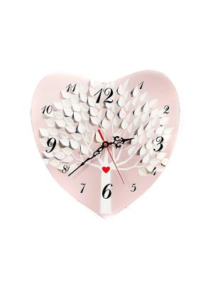Часы настенные Сердце Русские подарки. Цвет: розовый, белый