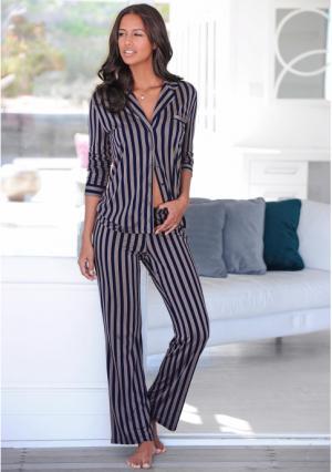 Пижама. Цвет: серо-коричневый в полоску