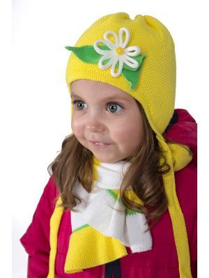 Комплект шапка и  шарф ШАЛУНЫ. Цвет: желтый