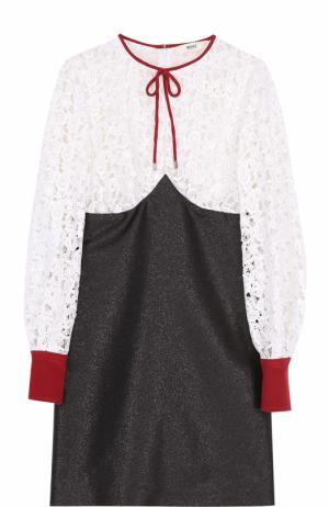 Мини-платье с длинным рукавом и кружевным лифом Bally. Цвет: черно-белый
