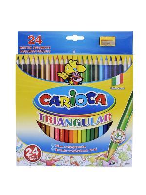 Набор карандашей цветных трехгранных CARIOCA TRIANGULAR, 24 цв Universal. Цвет: синий