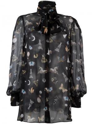 Блузка с рисунком Obsession Alexander McQueen. Цвет: чёрный