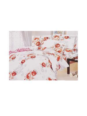 Комплект постельного белья 4 предмета HAMRAN. Цвет: белый, красный