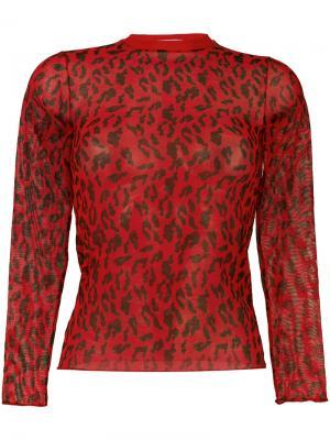 Прозрачный леопардовый топ Aries. Цвет: красный