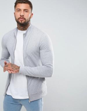 ASOS Обтягивающая спортивная куртка серого меланжевого цвета. Цвет: серый