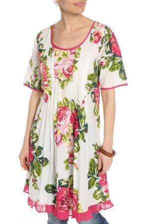 Платье-туника AYFEE. Цвет: белый, фуксия