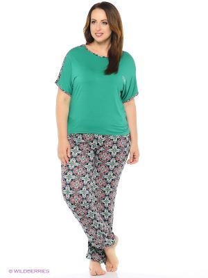 Комплект домашней одежды ( футболка, брюки) HomeLike. Цвет: зеленый