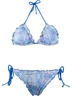 Printed triangle bikini set Brigitte. Цвет: розовый и фиолетовый