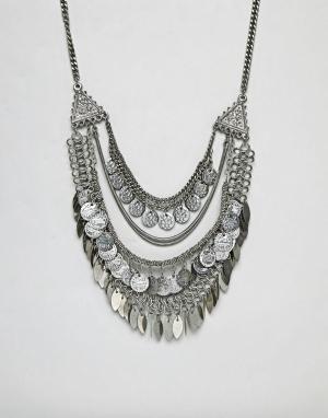 ASOS Броское ожерелье-цепочка DESIGN. Цвет: серебряный