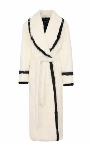 Удлиненная шуба из меха кролика с поясом Dolce & Gabbana. Цвет: белый