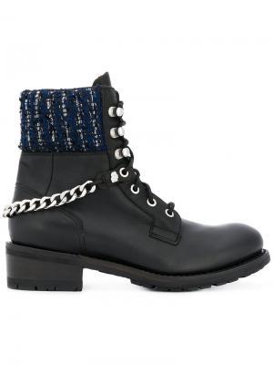 Ботинки с твидовой отделкой Karl Lagerfeld. Цвет: чёрный
