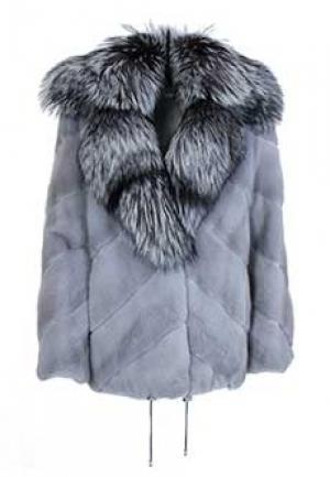 Меховое пальто норка BELLINI. Цвет: голубой