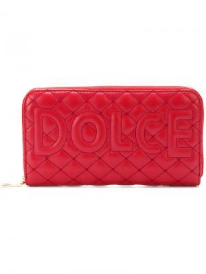 Удлиненный стеганый кошелек Dolce & Gabbana. Цвет: красный