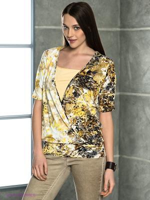 Кофточка Natali Silhouette. Цвет: коричневый, бежевый, желтый