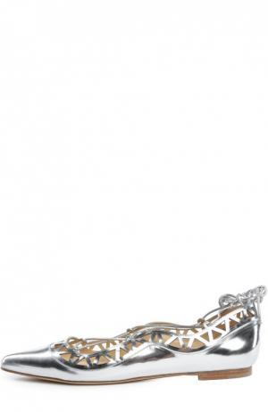 Кожаные балетки Aida на шнуровке Bionda Castana. Цвет: серебряный