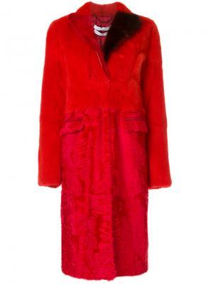 Шуба с панельным дизайном Givenchy. Цвет: красный