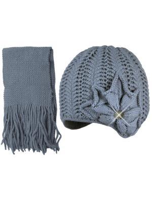 Шапка и шарф Grans. Цвет: серый