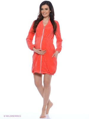 Велюровый халат для беременных Nuova Vita. Цвет: коралловый