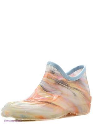 Резиновые сапоги BRIS. Цвет: голубой, бежевый