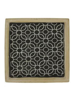 Тарелка RICH LINE Home Decor. Цвет: черный, темно-бежевый