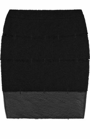 Буклированная мини-юбка с кожаной отделкой Tom Ford. Цвет: черный