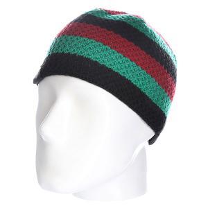 Шапка  Buffalo Strip Knits Beanie Africa Fallen. Цвет: зеленый,черный,бордовый
