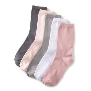 Комплект из 5 пар однотонных  носков La Redoute Collections. Цвет: розовый/ серый