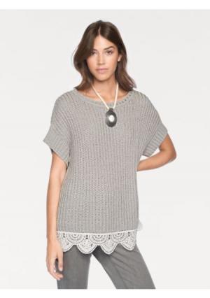 Пуловер LINEA TESINI by Heine. Цвет: серый/белый