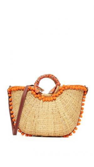 Пляжная соломенная объемная сумка с короткими ручками Sam Edelman