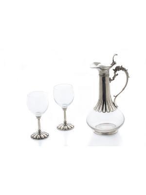 Графин+ 2 стакана в наборе Elff Ceramics. Цвет: серебристый