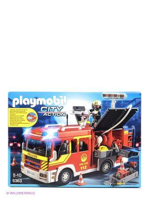 Пожарная служба машина со светом и звуком Playmobil. Цвет: голубой