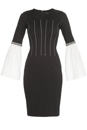 Трикотажное платье из вискозы с отделкой жемчуга 181456 Cristina Effe. Цвет: черный