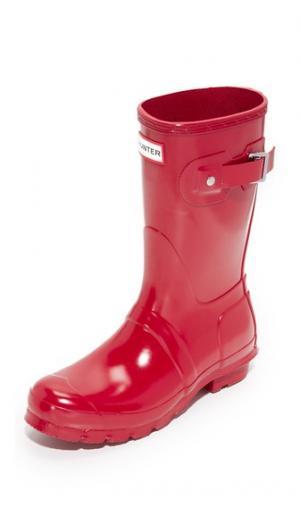 Оригинальные короткие блестящие сапоги Hunter Boots. Цвет: красный