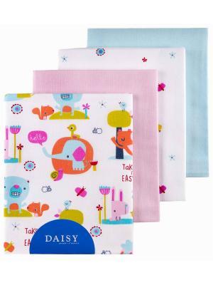 Пеленка Слоники, 4 шт. DAISY. Цвет: оранжевый, бледно-розовый, светло-голубой, светло-оранжевый