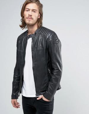 Goosecraft Черная кожаная байкерская куртка. Цвет: черный
