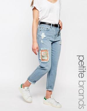 Waven Petite Рваные джинсы бойфренда с нашивками Aki. Цвет: синий