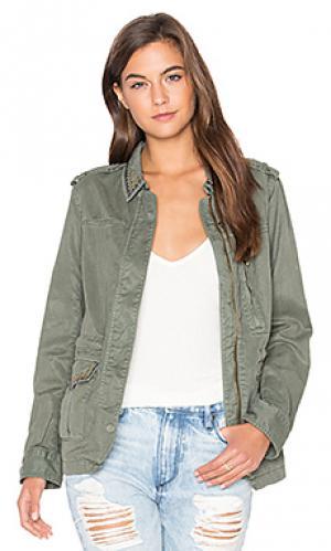 Куртка в стиле милитари с отделкой стразами Sanctuary. Цвет: оливковый