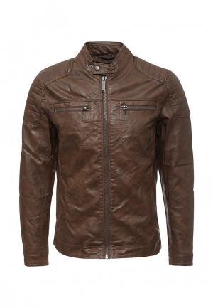 Куртка кожаная Blend. Цвет: коричневый