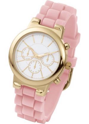 Часы на силиконовом браслете (жемчужно-розовый/розово-золотистый) bonprix. Цвет: жемчужно-розовый/розово-золотистый