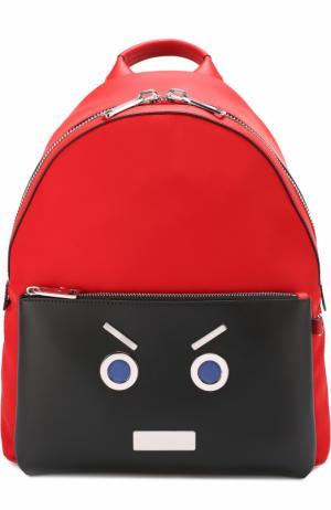 Комбинированный рюкзак с аппликацией Fendi. Цвет: красный